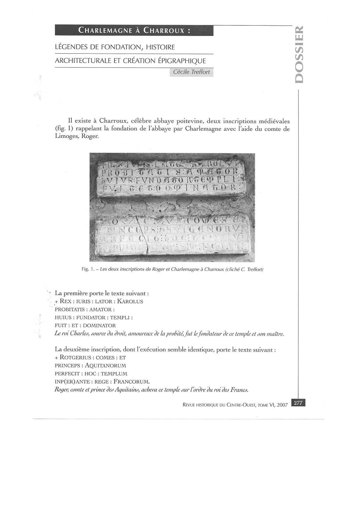CHARLEMAGNE A CHARROUX - TREFFORT - RHCO 2007:1