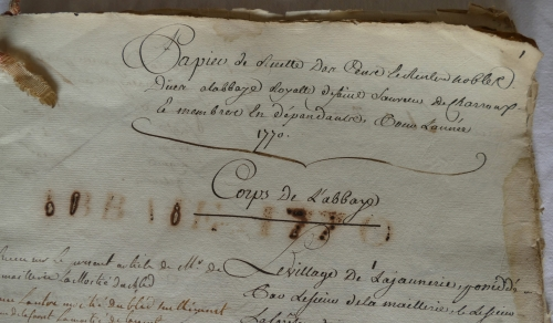 CHARROUX ABBAYE RECETTES 1770 - Coll ©KARROFUM all   004